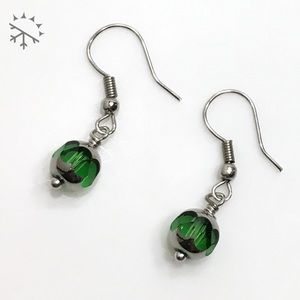 Dainty Emerald & Silver Cathedral Glass Earrings